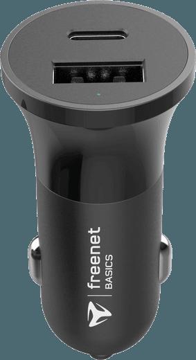 freenet Basics Power Delivery Kfz-Adapter USB-C/USB-A (black)